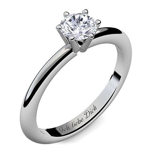 Verlobungsring Ring Damen Silber 925 von AMOONIC Zirkonia Stein mit GRAVUR & ETUI-BOX Silberring Frau Verlobungsringe Damenring rhodiniert Echt Schmuck Antragsring AM195SS925ZI54