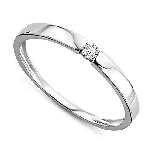 Orovi Ring für Damen Verlobungsring Gold Solitärring Diamantring 9 Karat (375) Brillianten 0.05ct Weißgold oder GelbGold Ring mit Diamanten Ring Handgemacht in Italien