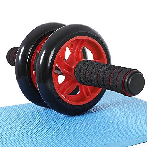 SONGMICS Bauchroller, AB Roller Bauchtrainer, AB Wheel für Fitness, mit rutschfester, gut gepolsterter Kniematte, Bauchmuskeltraining und Muskelaufbau, für Frauen und Männer, rot SPU75R