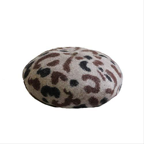 ROU Wolle Baskenmütze Frauen Herbst Und Winter Japanischen Hut Knospe Hut, Vintage Leopardenmuster Maler Hut Einrichten