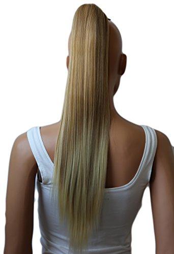PRETTYSHOP 60cm Haarteil Zopf Pferdeschwanz glatt Haarverlängerung hitzebeständig wie Echthaar blond mix #27BT613A H614