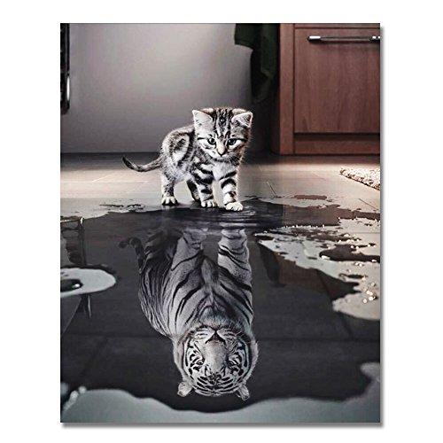 RIHE Holzrahmen, Malen nach Zahlen DIY Ölgemälde Katze oder Tiger für Erwachsene anfänger Dekoration