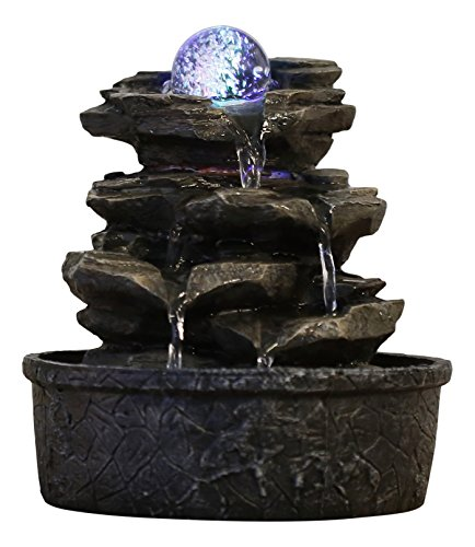 Zen'Light Little Rock Brunnen aus Polyresin, Dunkelbraun, 20 x 20 x 23 cm