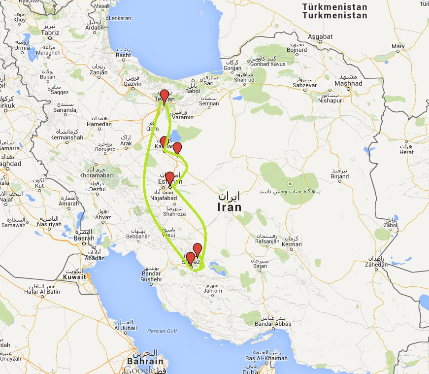 Irankarte - Reiseverlauf