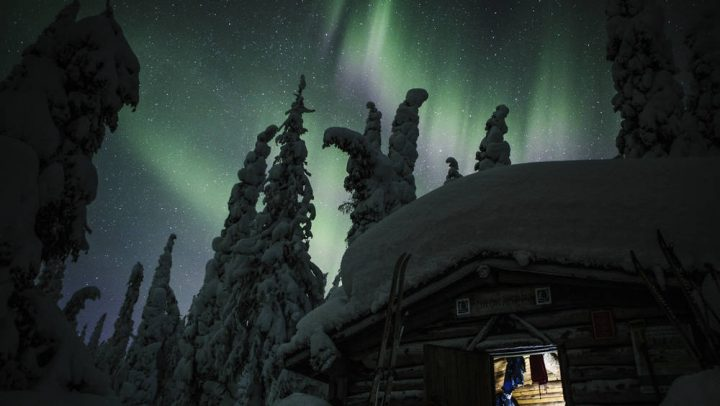 Polarlichter am Himmel über einer Winterlandschaft © Jeppe Kuld VisitFinland.com