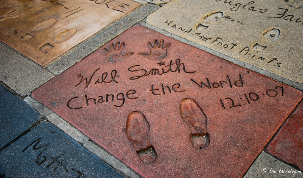 Will Smith Fuß- und Handabdruck vor dem Chinese Theatre © the travelogue