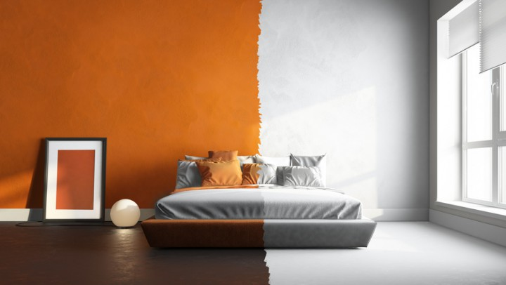 3d interor render of orange-white bedroom