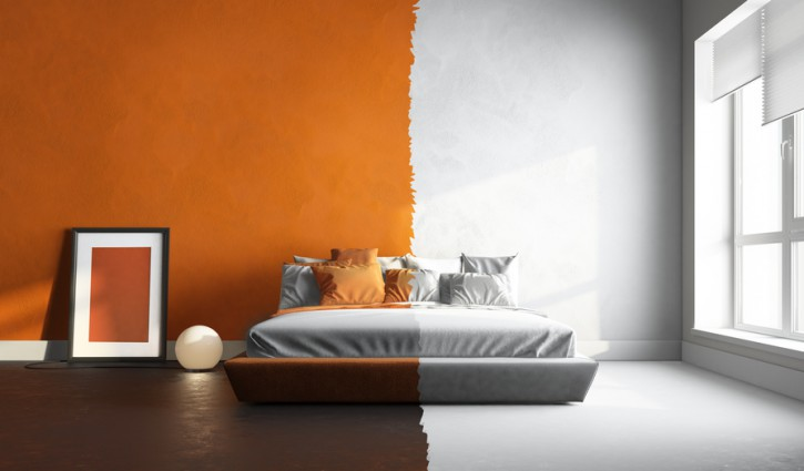3d interor render of orange-white bedroom
