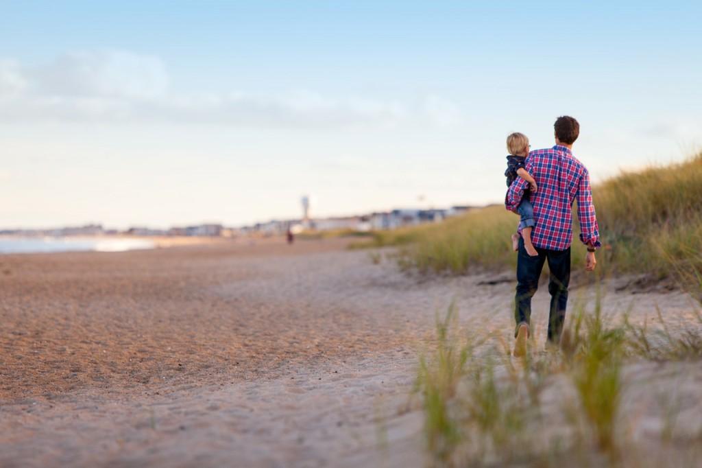 Urlaub, Mann, Kind, Meer