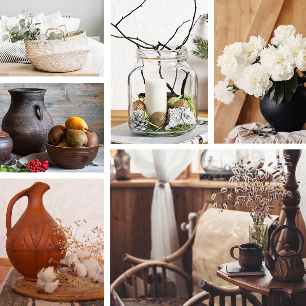rustikale Einrichtung, Accessoires, Naturmaterialien, Holz, Tongefäße