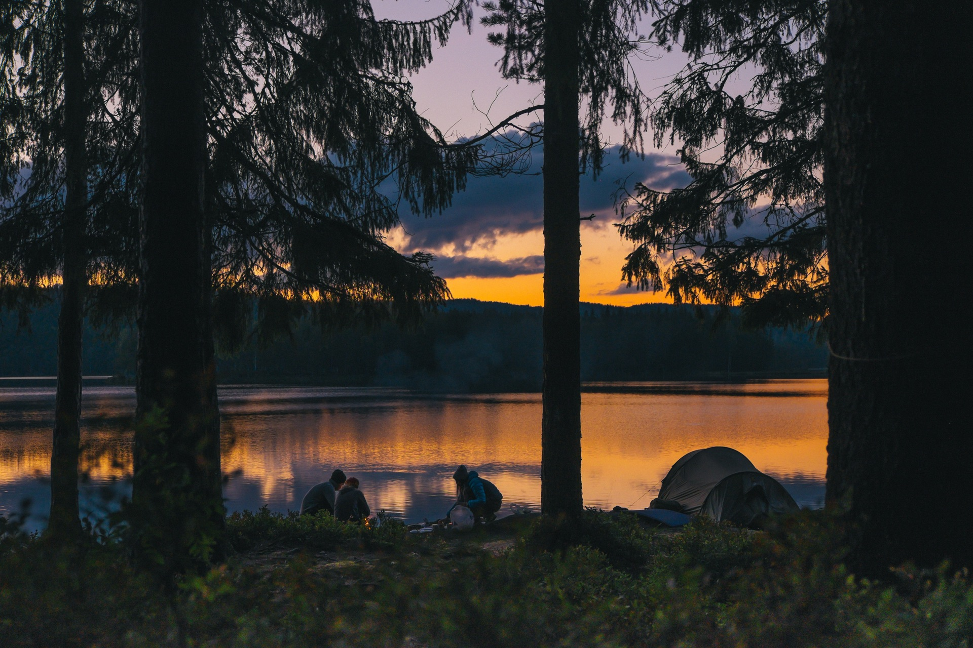 Sonnenuntergang, Skandinavien, Camping, Wald